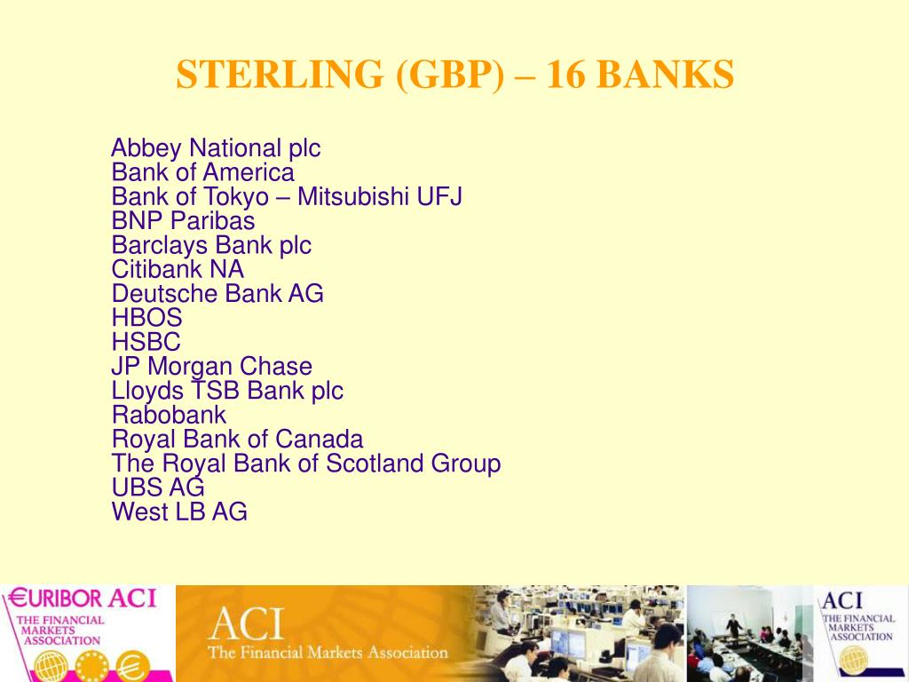 STERLING (GBP) – 16 BANKS