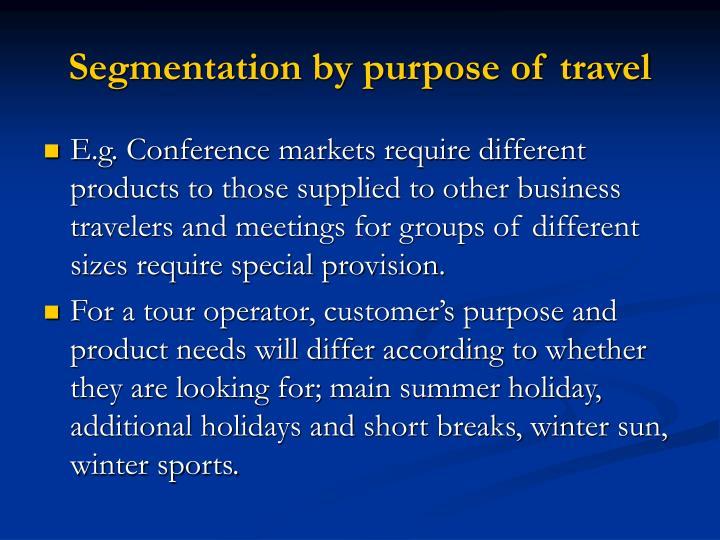 Segmentation by purpose of travel