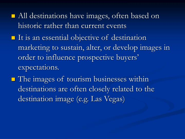 All destinations have images, often based on historic rather than current events