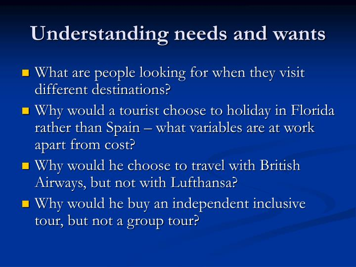 Understanding needs and wants