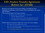 csu student transfer agreement reform act star