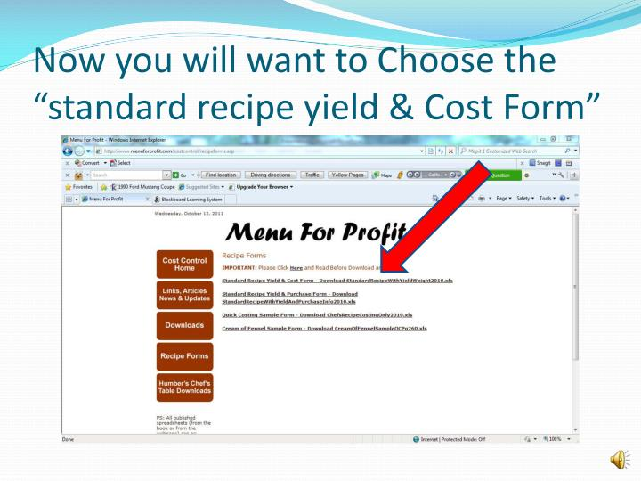 ppt how to fill out an online standard recipe form powerpoint