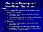 character development non player characters
