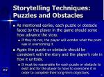 storytelling techniques puzzles and obstacles