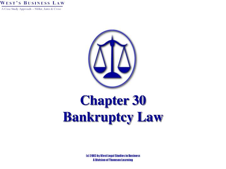 chapter 30 bankruptcy law n.
