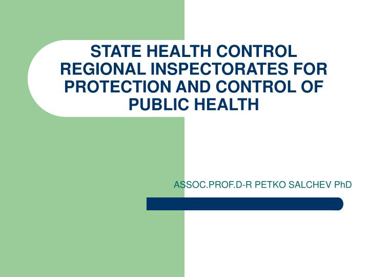 state health control regional inspectorates for protection and control of public health n.