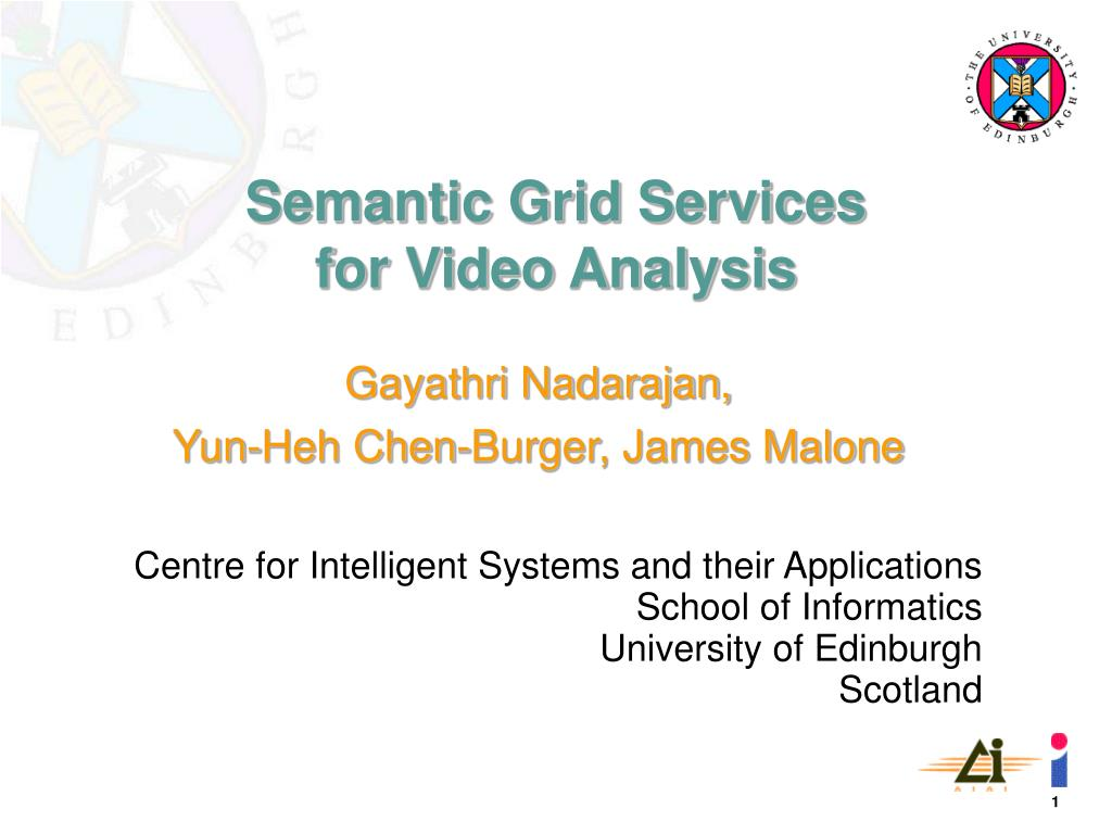 semantic grid services for video analysis l.