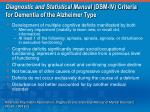 diagnostic and statistical manual dsm iv criteria for dementia of the alzheimer type