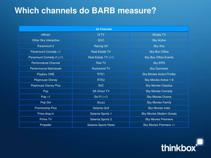 Which channels do barb measure3