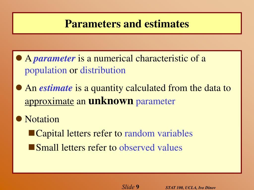 Parameters and estimates