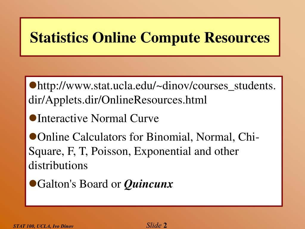 Statistics Online Compute Resources