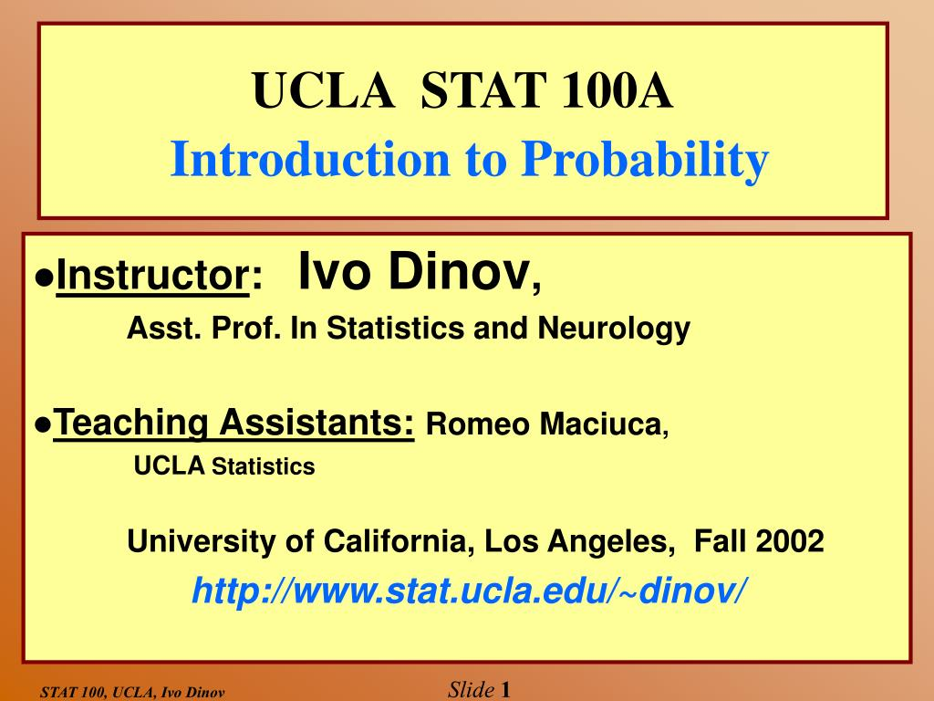 ucla stat 100a introduction to probability l.