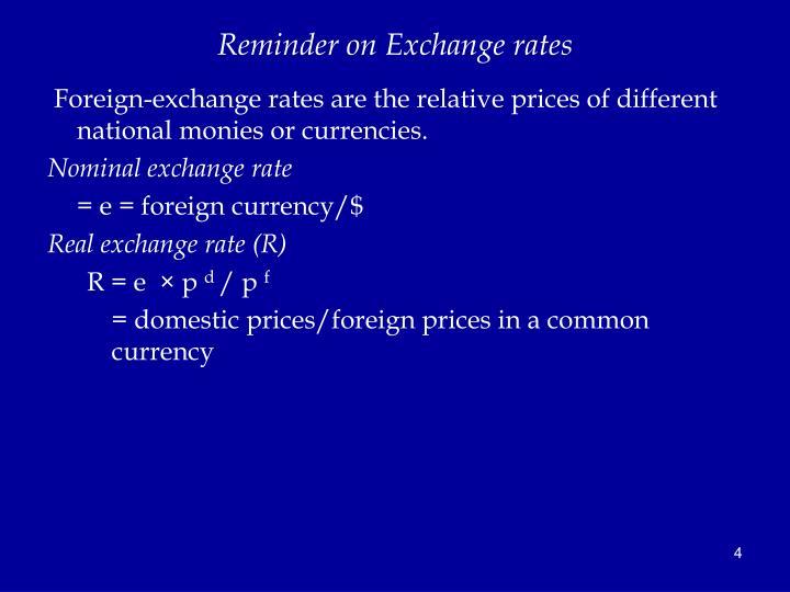 Reminder on Exchange rates