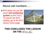 about call numbers