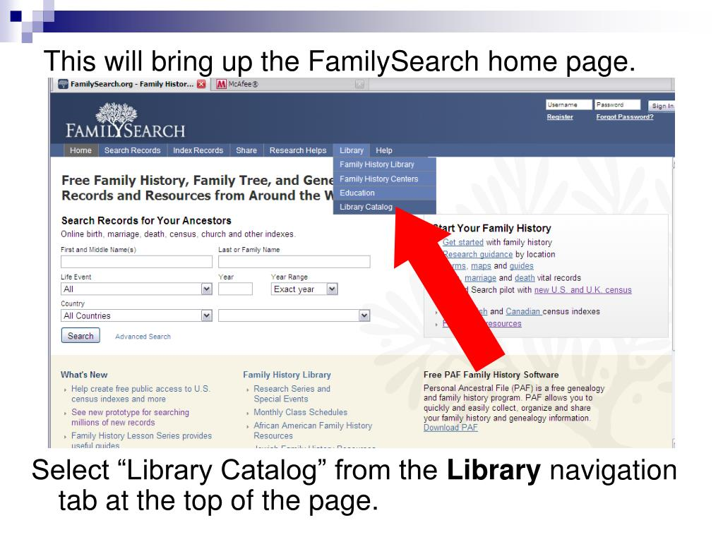 PPT - FHLC Family History Library Catalog PowerPoint