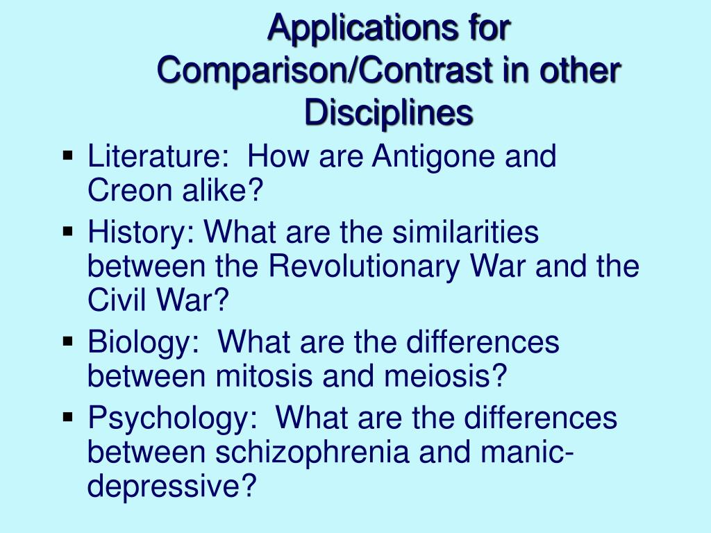 Applications for Comparison/Contrast in other Disciplines