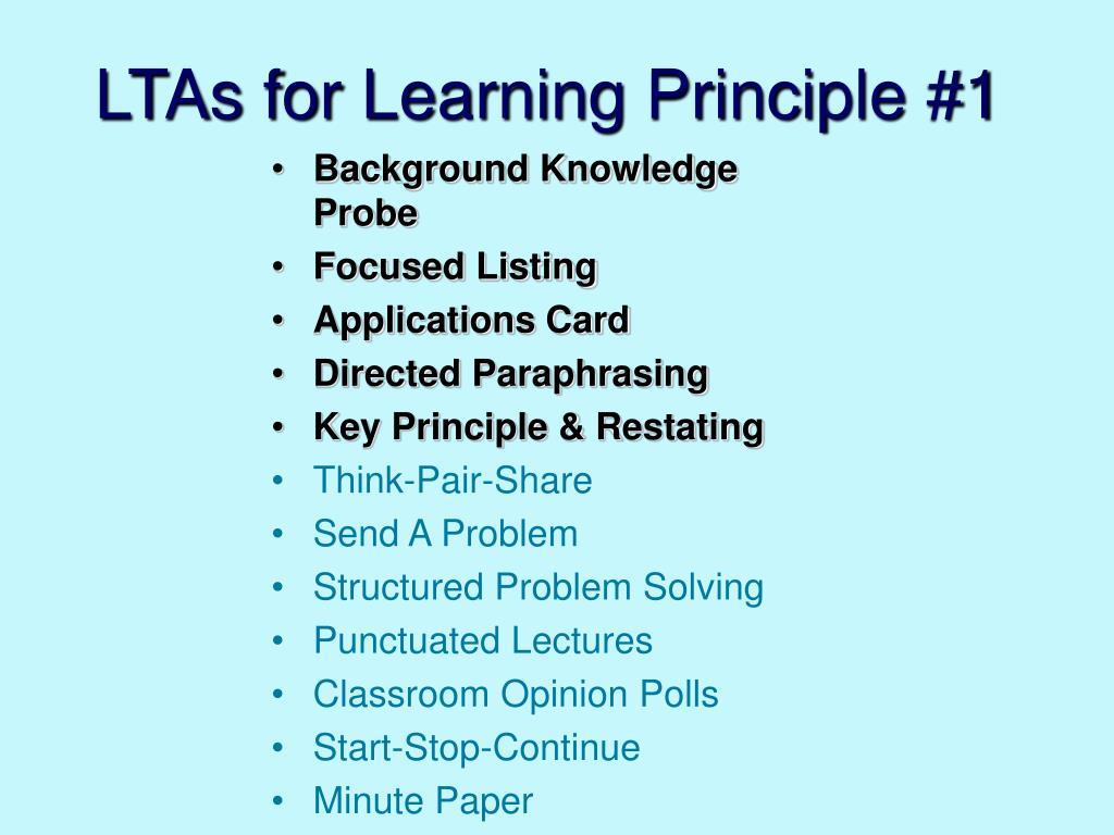 LTAs for Learning Principle #1