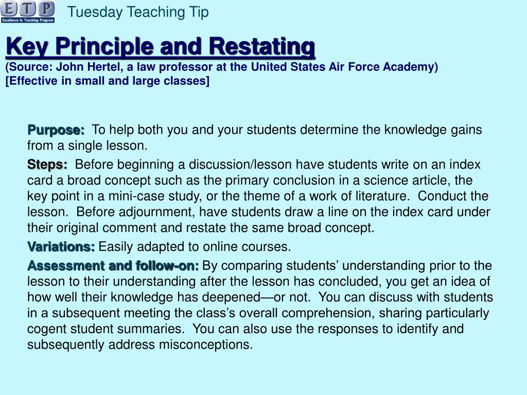Tuesday Teaching Tip