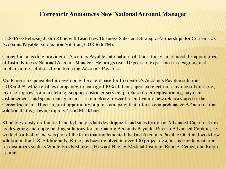 Corcentric Announces New National Account Manager