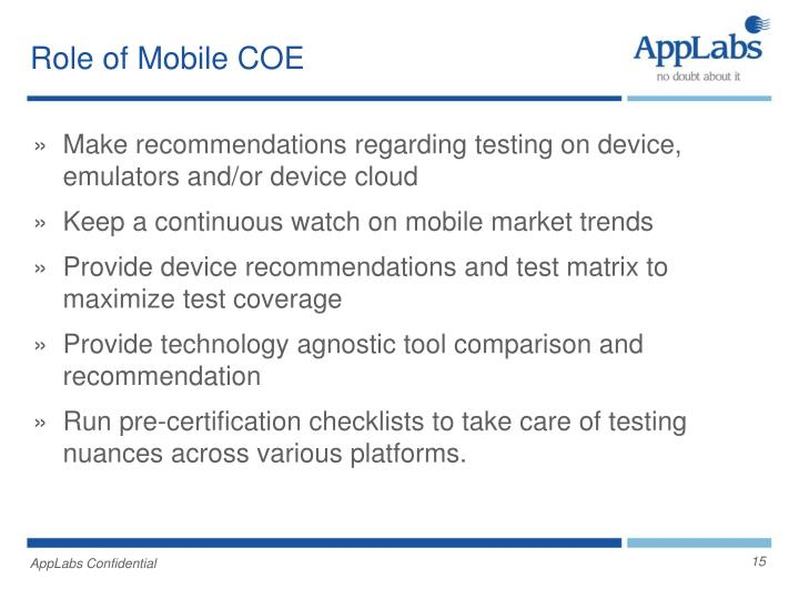 Role of Mobile COE