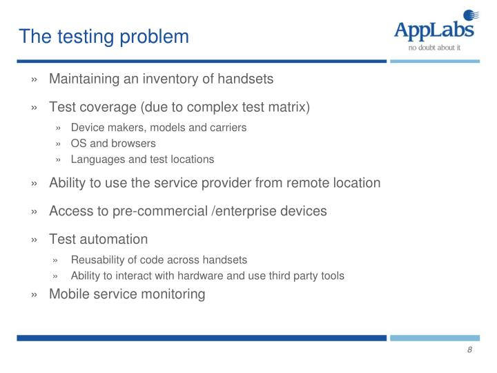 The testing problem