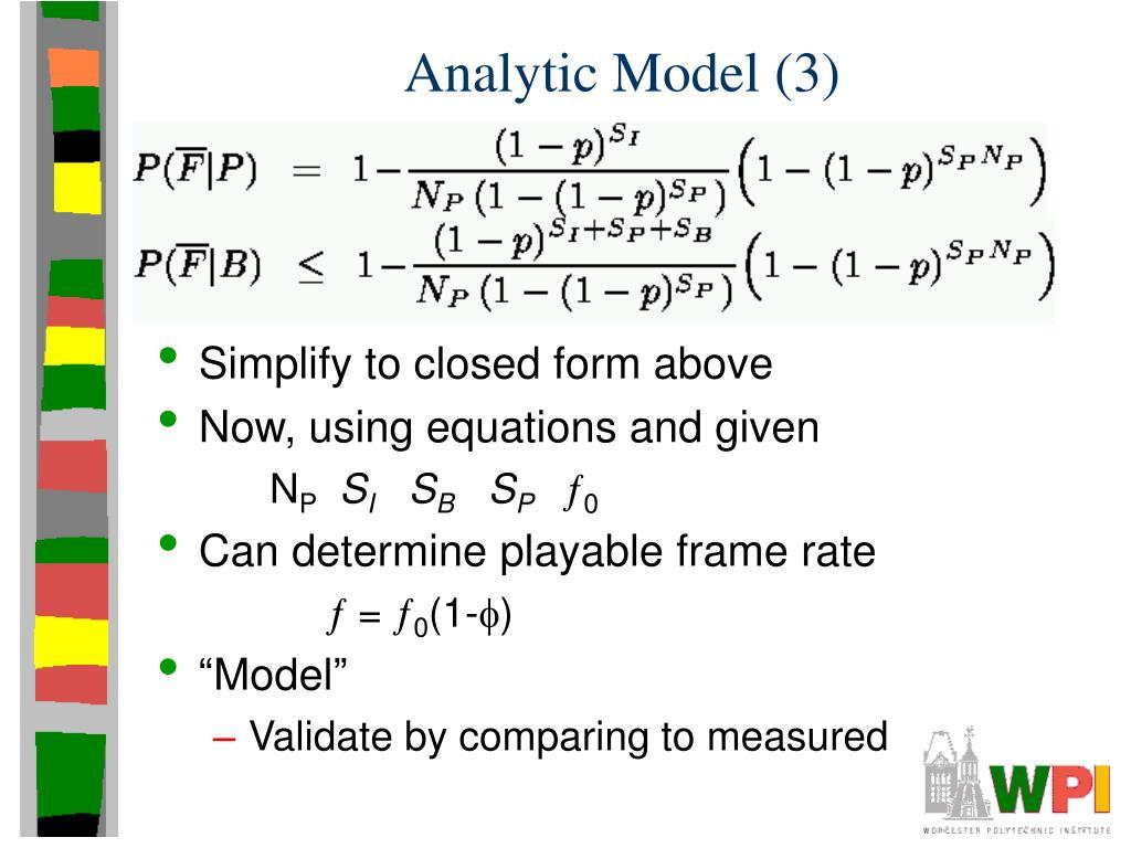 Analytic Model (3)
