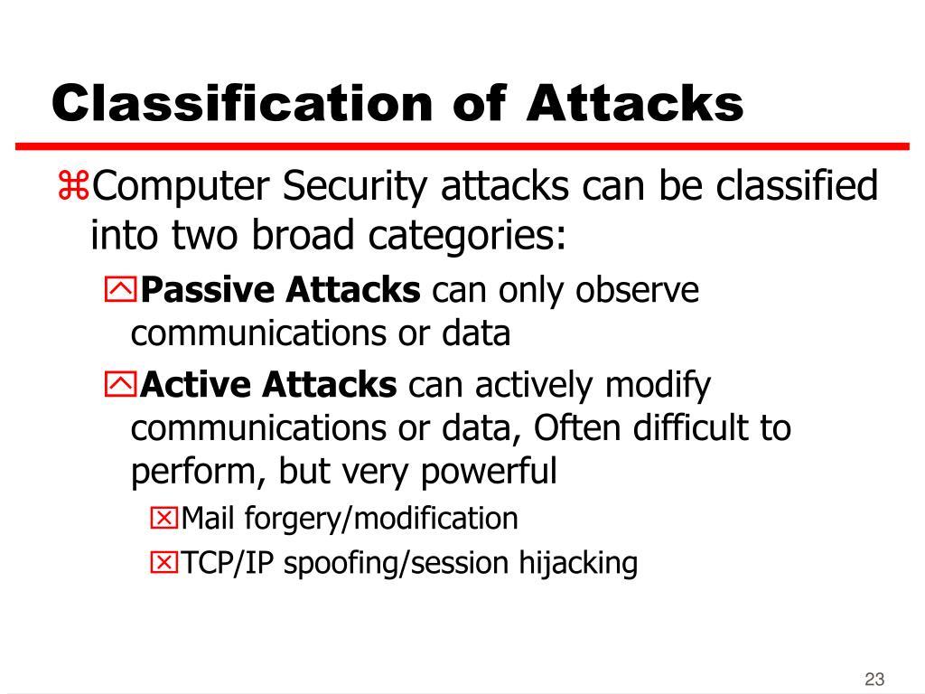 Classification of Attacks