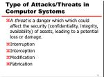 type of attacks threats in computer systems