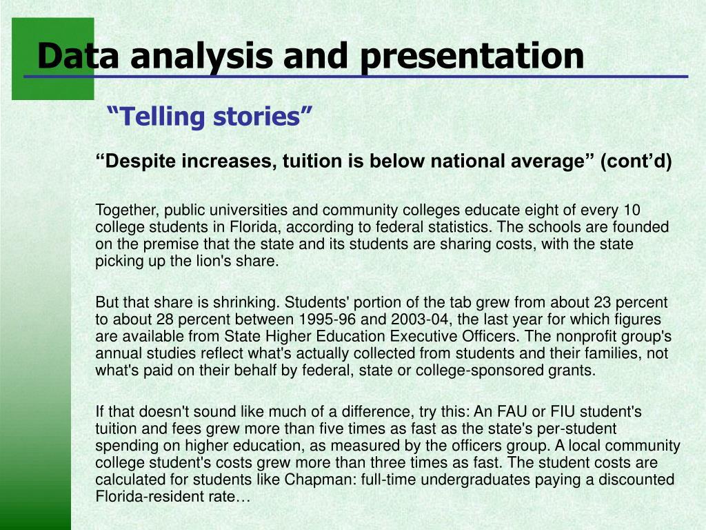 Data analysis and presentation