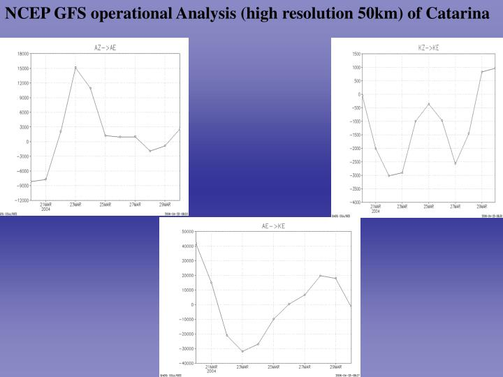NCEP GFS operational Analysis (high resolution 50km) of Catarina
