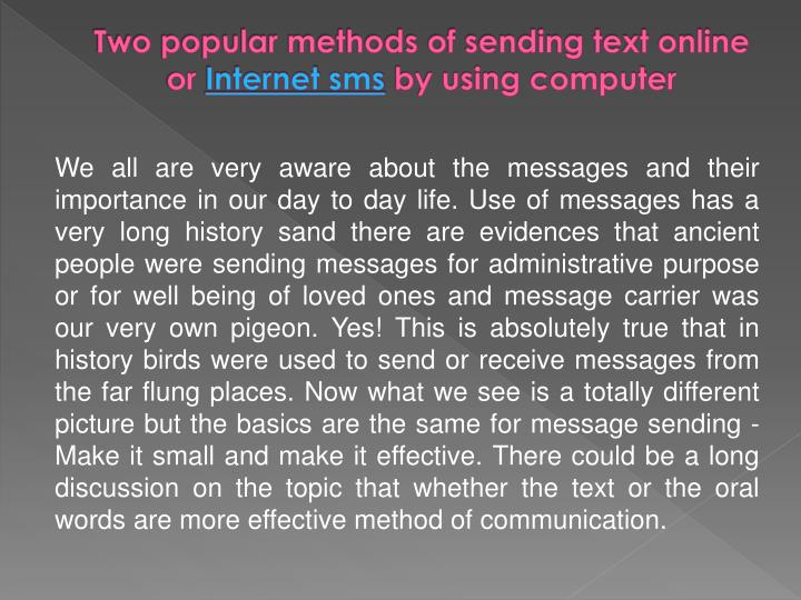 Two popular methods of sending text online or internet sms by using computer2