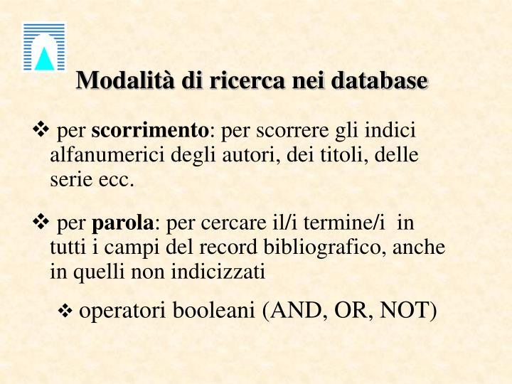 Modalità di ricerca nei database