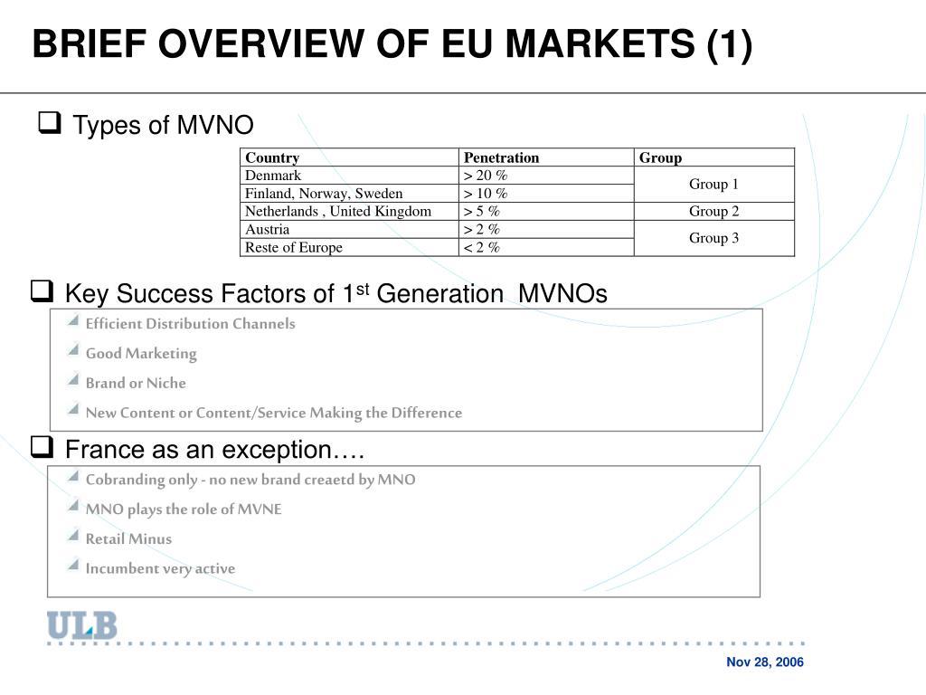 BRIEF OVERVIEW OF EU MARKETS (1)