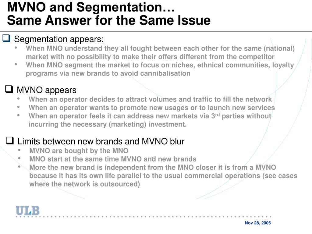 MVNO and Segmentation…