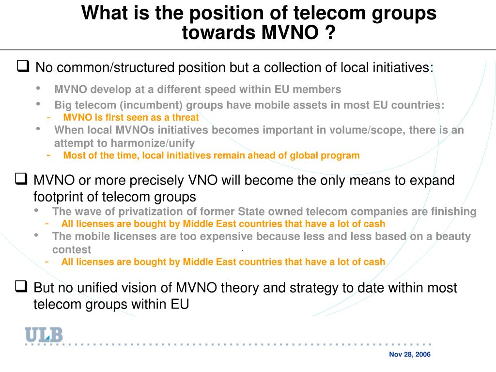 What is the position of telecom groups