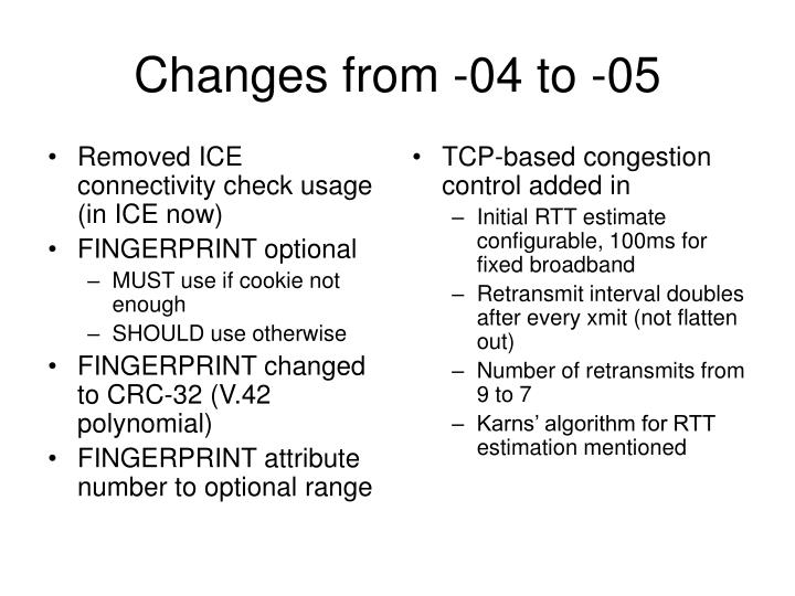 Changes from 04 to 05