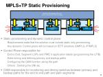 mpls tp static provisioning