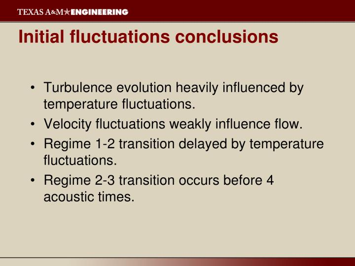 Initial fluctuations conclusions