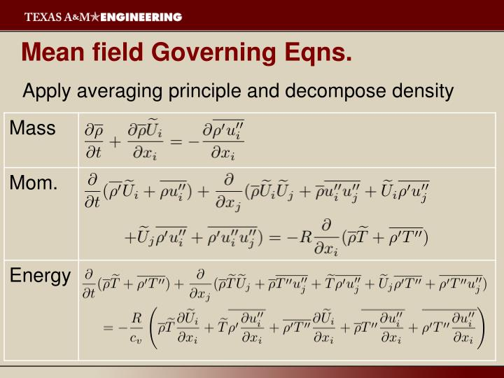 Mean field Governing Eqns.