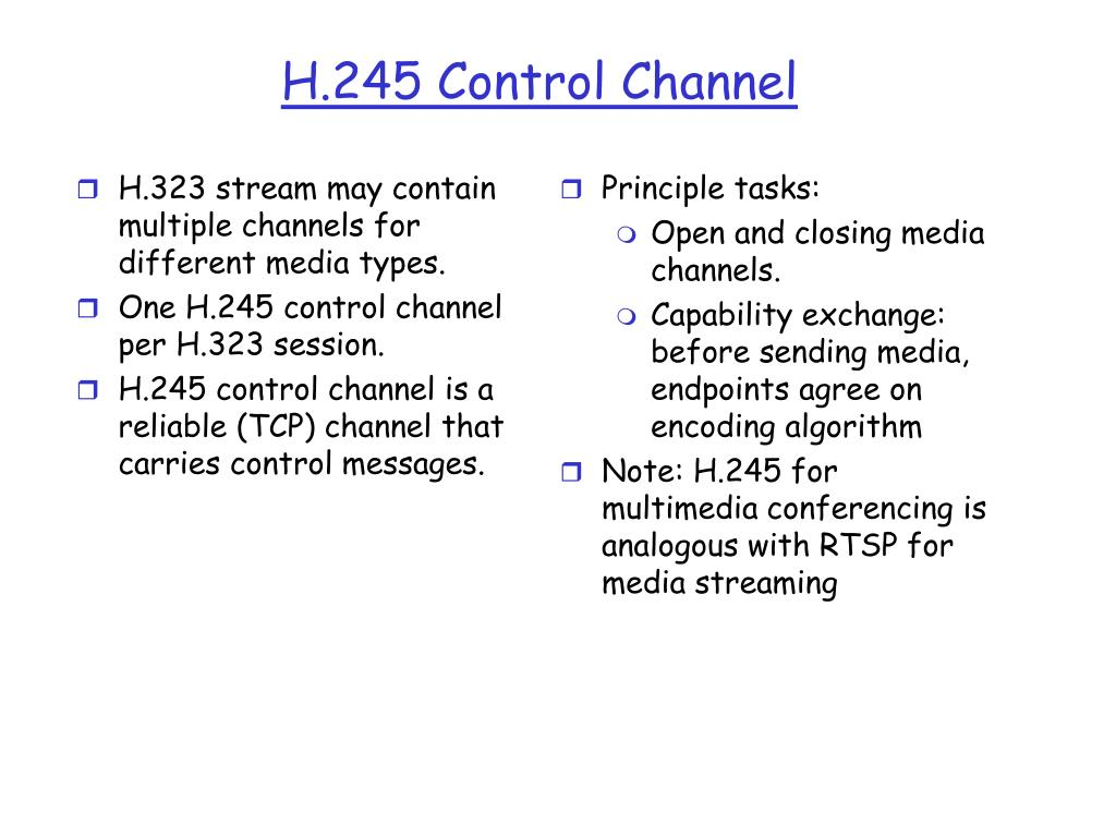 H.323 stream may contain multiple channels for different media types.