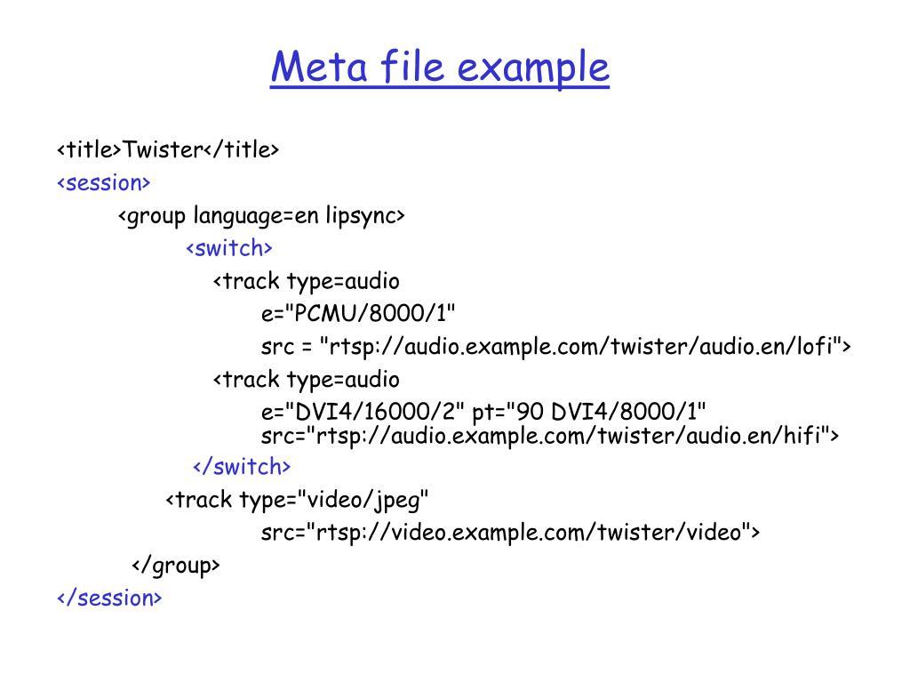Meta file example
