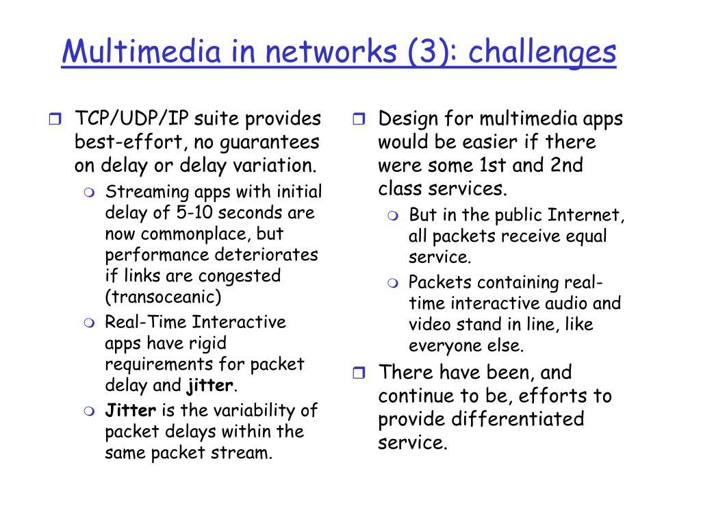 TCP/UDP/IP suite provides best-effort, no guarantees on delay or delay variation.