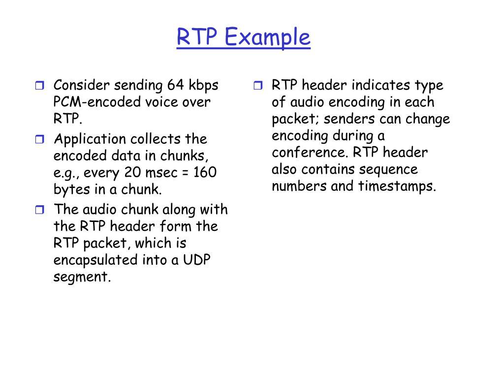 Consider sending 64 kbps PCM-encoded voice over RTP.