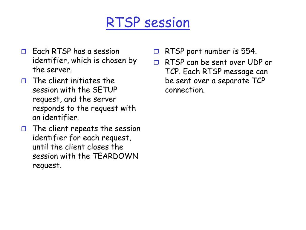 Each RTSP has a session identifier, which is chosen by the server.