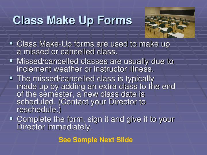Class Make Up Forms