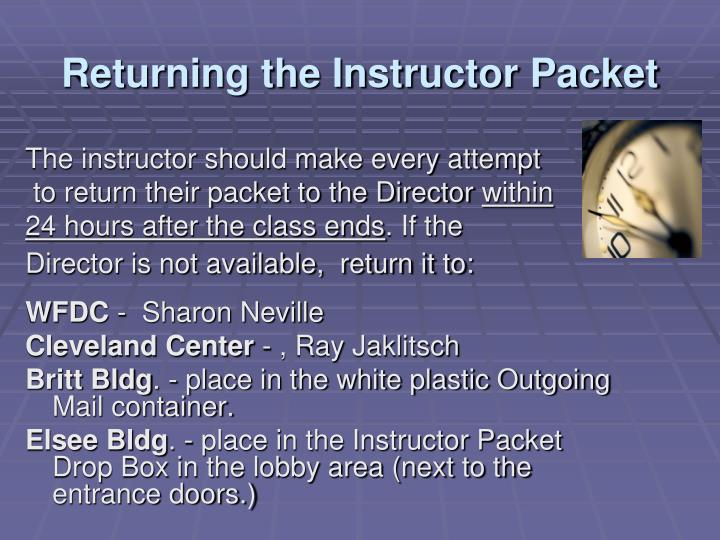 Returning the Instructor Packet