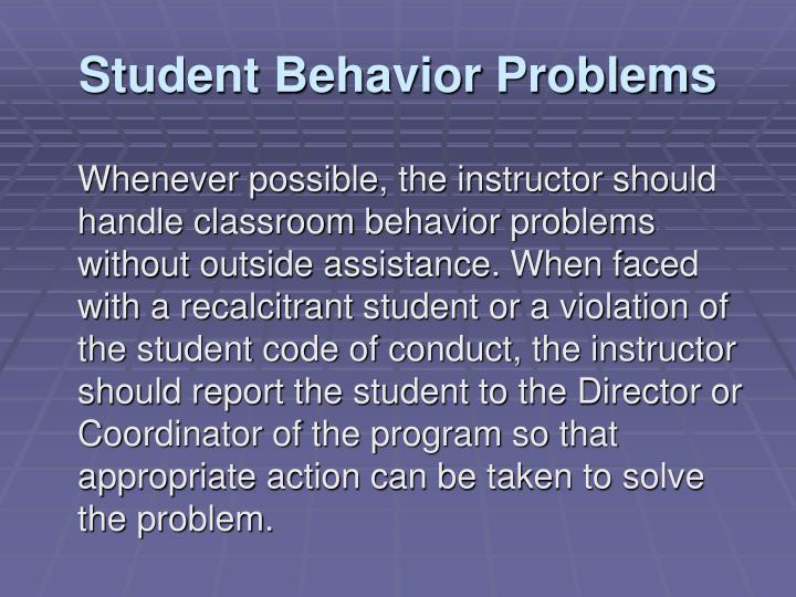 Student Behavior Problems
