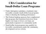 cra consideration for small dollar loan programs