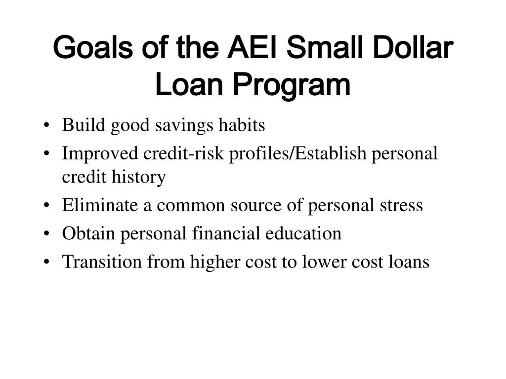 Goals of the AEI Small Dollar Loan Program