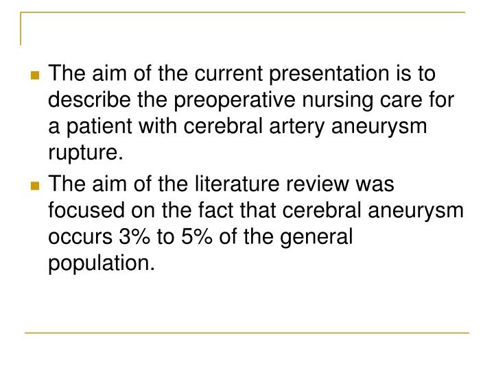 The aim of the current presentation is to describe the preoperative nursing care for a patient with ...